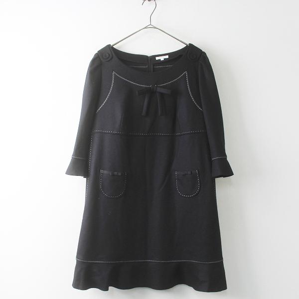 美品 大きいサイズ TO BE CHIC トゥービーシック ホワイトステッチ ウール チュニック ワンピース 44/ブラック 黒 ドレス【2400011479723】