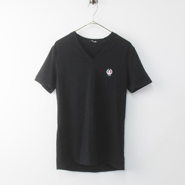 DOLCE&GABBANA ドルチェ&ガッバーナ アンダーウェア 胸元 刺繍 Vネック Tシャツ XS///メンズ ブラック インナー【2400011482235】