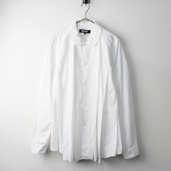 BLACK COMME des GARCONS ブラックコムデギャルソン AD2017 丸襟 プリーツ入 ビッグ シャツ XL/ホワイト 白 トップス【2400011482563】