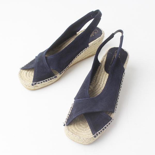 美品 Calzanor カルザノール スエード ジュート サンダル 37/ネイビー シューズ ミュール 靴【2400011482754】