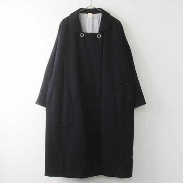 hibinosirone ヒビノシロネ ダブル ウール コート M/紺 コン 羽織り アウター 上着 トップス【2400011485151】