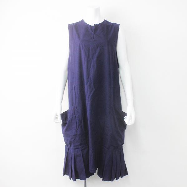 Y's Yohji Yamamoto ワイズ ヨウジヤマモト 裾プリーツ フリル ノースリーブ ワンピース 2/ネイビー 無地【2400011487131】