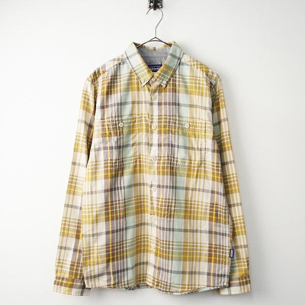 美品 メンズ patagonia パタゴニア バードショット チェック シャツ Long-Sleeved Bard shot Shirt M/ベージュ トップス【2400011487704】