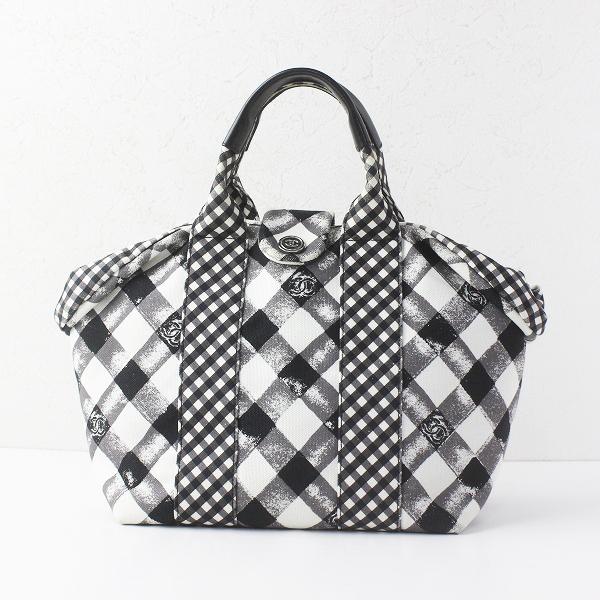 CHANEL シャネル A49918 クルーズライン ギンガムチェック ハンドバッグ/ホワイト ブラック かばん BAG 鞄 ロゴ 【2400011488725】