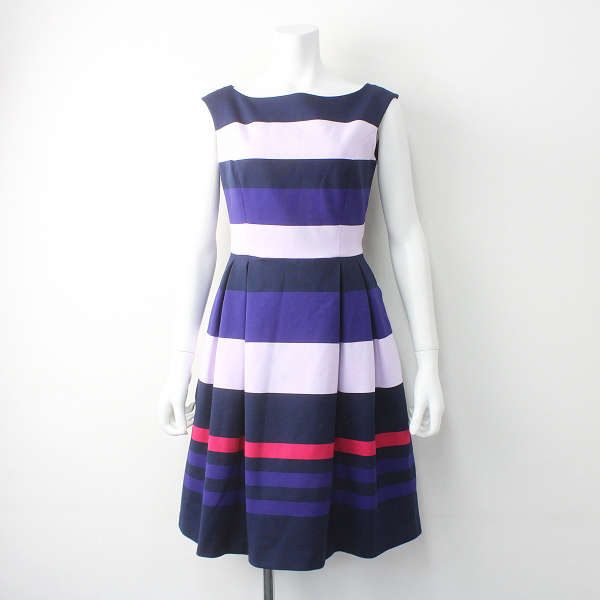 TOCCA トッカ 2016 LINE BORDER ニット ドレス 0/パープル 紫 ノースリーブ ひざ丈【2400011491329】