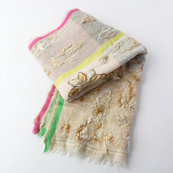 AS KNOW AS ASZAKKA アズノウアズアザッカ フラワー 刺繍 ウール ストール/ ベージュ系 マフラー ショール 服飾雑貨【2400011491367】