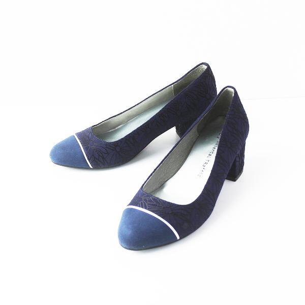 【期間限定50%OFF】ORiental TRaffic オリエンタルトラフィック フラワー プリント パンプス 33/ネイビー 紺 靴 シューズ【2400011491510】