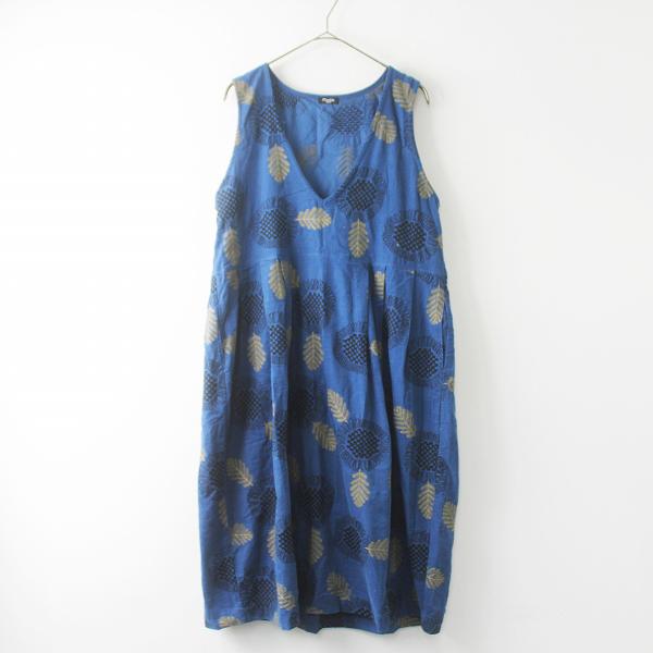 marble sud マーブルシュッド EMB イチマツ フラワー ジャンパー スカート /ブルー 刺繍 ワンピース【2400011491664】