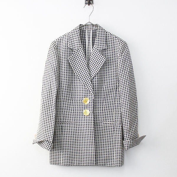 Christian Dior クリスチャンディオール チェック柄織り セミロング ジャケット 7///ブラック系 トップス【2400011491732】