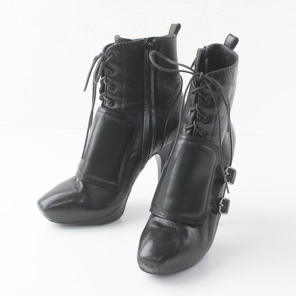 CELINE セリーヌ レザー レースアップ ブーティ 37/ブラック 黒 靴 シューズ【2400011496614】