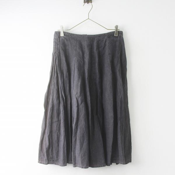 grin グリン リネン フレア スカート 2/チャコール ボトムス バックボタン 無地【2400011499578】