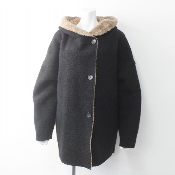 MidiUmi ミディウミ リバーシブル ボア フード付き ワイド コート/ ブラック×ブラウン アウター 上着 羽織り【2400011502131】