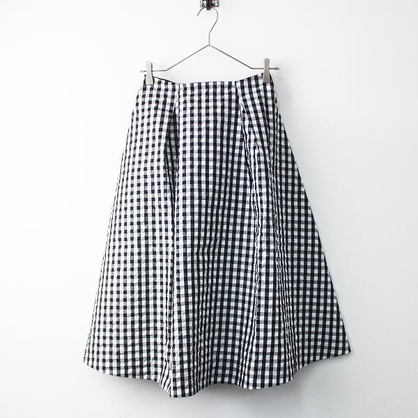 未使用品 2018SS 定価1.6万 IENA イエナ 18060900606210 Pe/Co ギンガム スカート 34/ 黒× 白 ボトムス フレア【2400011502377】-.