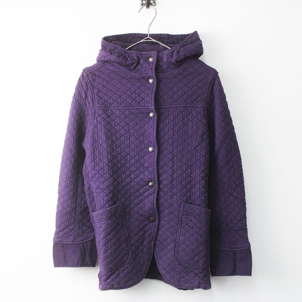 未使用品 ARMEN アーメン コットン キルティング フーデッド ジャケット 0/ パープル コート 紫 綿 ユーズド加工【2400011502551】