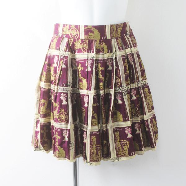 希少 Jane Marple ジェーンマープル Royal stamp プリント ミニ プリーツ スカート M/ボルド ボトムス【2400011502735】