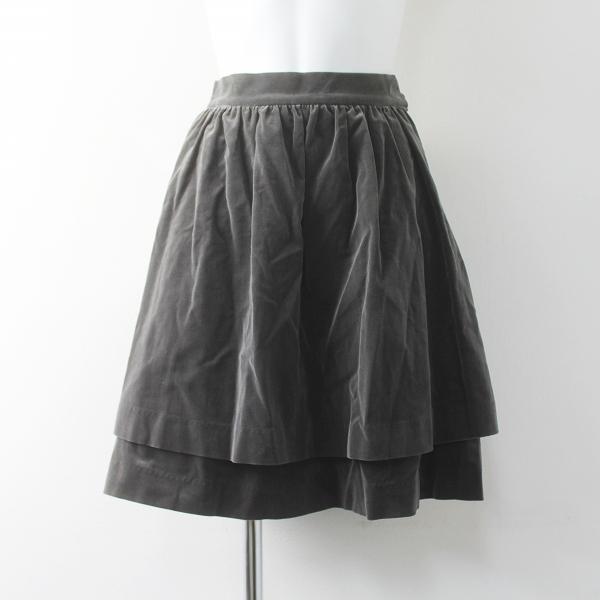 Jane Marple ジェーンマープル 別珍 フリル スカート M/グレー ボトムス【2400011502766】