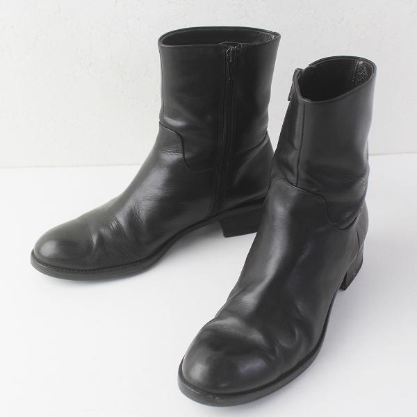 MARGARET HOWELL idea マーガレットハウエル アイデア サイドジップ レザー ミドル ブーツ 23 1/2 /ブラック シューズ 靴【2400011503589】