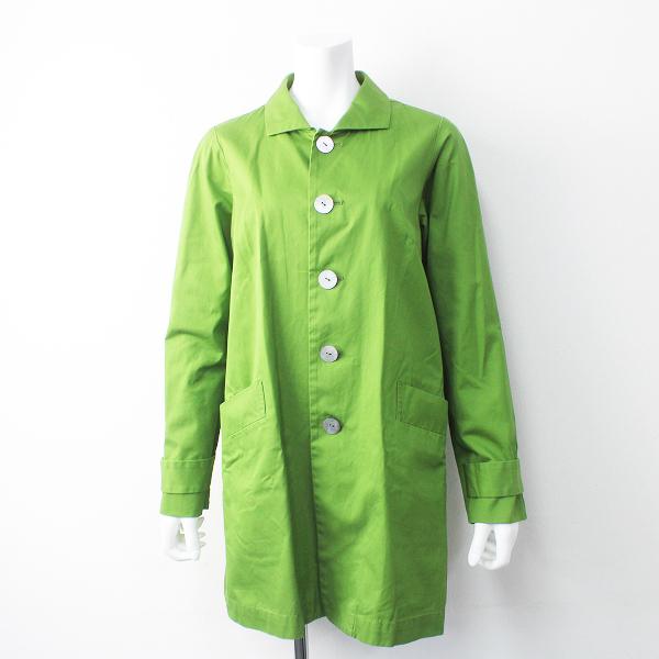 Pal'las Palace パラスパレス 染色加工 シェルボタン ステンカラーコート 3/グリーン アウター 上着 羽織り【2400011503633】