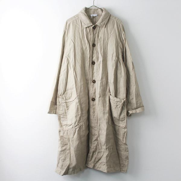定価3.6万 ARMEN アーメン リネン ヘリンボーン ステンカラー ワーク コート 2/ベージュ アウター 上着 羽織り【2400011504524】