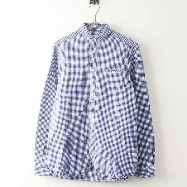 定価 1.6万 maillot マイヨ MAS-004 Sunset gingham work shirts ギンガム ワーク シャツ 2/メンズ ブルー【2400011504654】
