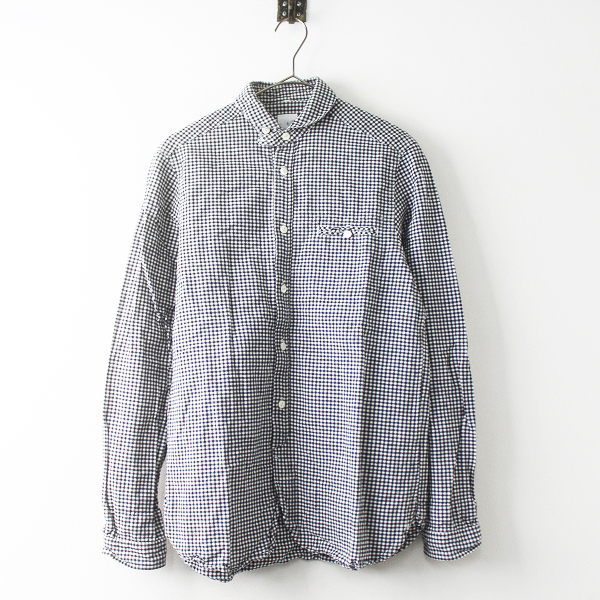 定価 1.6万 maillot マイヨ MAS-004 Sunset gingham work shirts ギンガム ワーク シャツ 2/メンズ ブラック【2400011504661】