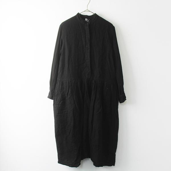 R&D.M.Co- オールドマンズテーラー バンドカラー 比翼 シャツ ドレス/ブラック ギャザー フレア ロングスリーブ【2400011504739】