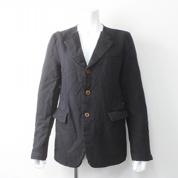 AD2015 BLACK COMME des GARCONS ブラックコムデギャルソン 断ち切り ポリ縮絨 ノーカラー ジャケット M/ブラック【2400011505125】