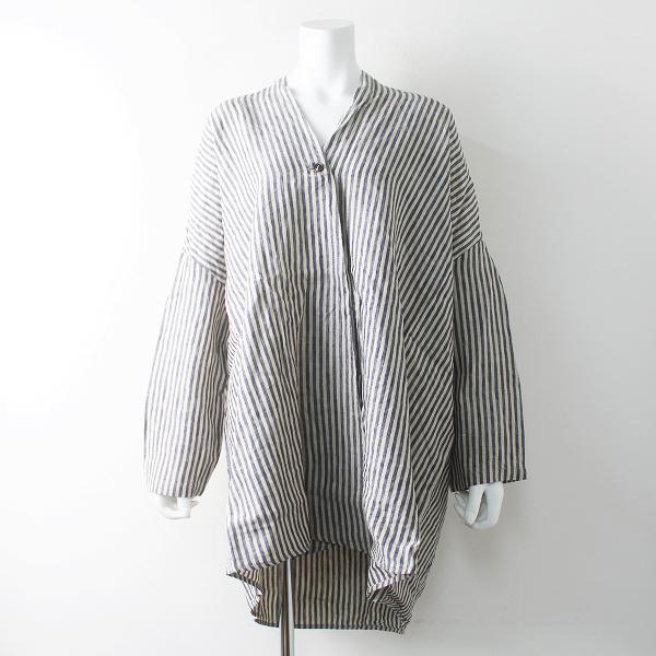 美品 定価1.8万 nest Robe ネストローブ リネン ストライプ オーバーサイズ コート F/キナリ×ネイビー 羽織り【2400011506146】
