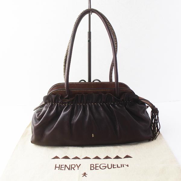 HENRY BEGUELIN エンリーベグリン オミノ刺繍 レザー フリンジ ギャザー トート バッグ /ダークブラウン 鞄【2400011506238】