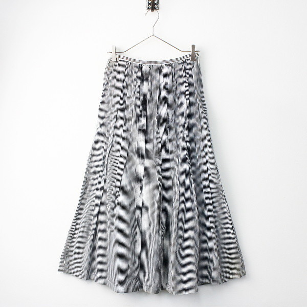 Lois CRAYON ロイスクレヨン ギンガムチェック タックロングスカート M/ホワイト ブラック ロング丈【2400011506627】