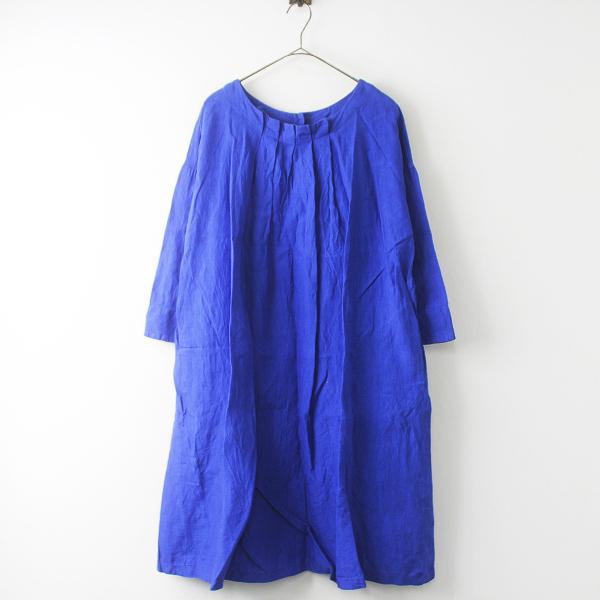 blue willow ブルーウィロー 染色加工 リネン タック入り フレアワンピース / ブルー 無地【2400011508461】