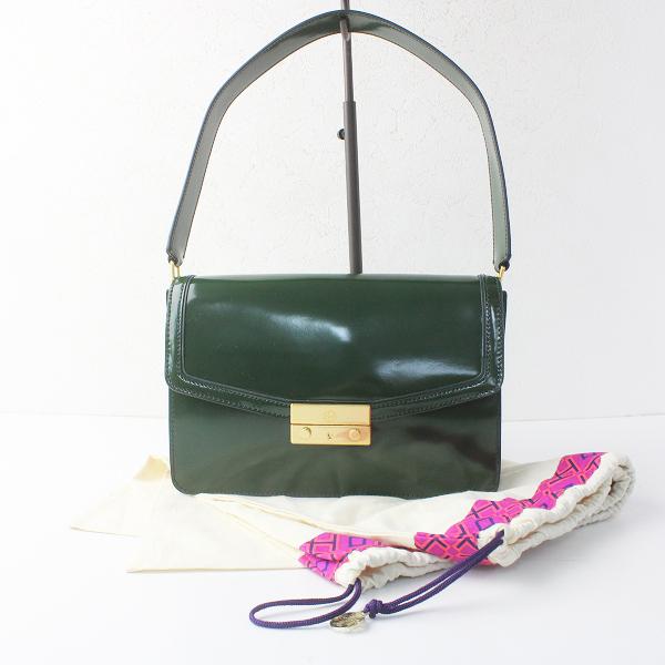 美品 TORY BURCH トリーバーチ スライドロック エナメル レザー ハンドバッグ/緑 グリーン かばん BAG 鞄【2400011510259】