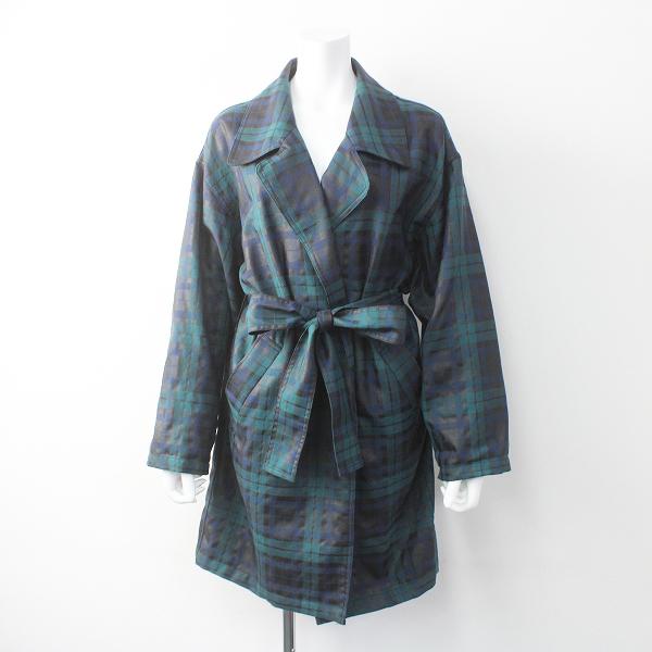 Lois CRAYON ロイスクレヨン チェック オーバーサイズ 羽織り コート M/グリーン系 アウター【2400011510938】