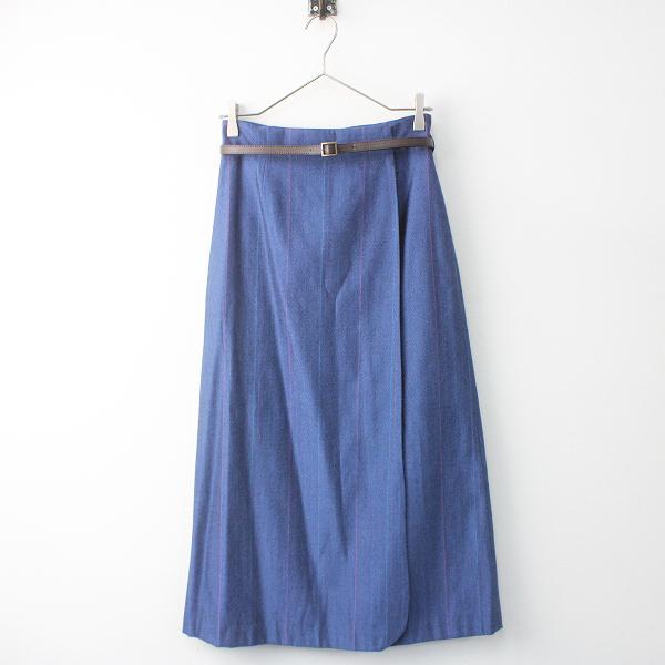 2016 春夏 Lois CRAYON ロイスクレヨン ベルト付き ストライプ ロング スカート M/28年製 ブルー ボトムス【2400011511010】