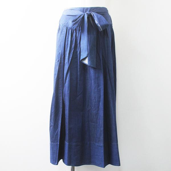 IENA イエナ コットン デニム フレア スカート 36/ブルー 青 ボトムス 無地 ロング【2400011511584】