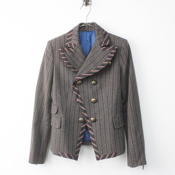Lois CRAYON ロイスクレヨン ウール ストライプ ダブルボタン ジャケット M/ グレー アウター 上着 羽織り 毛 【2400011512017】