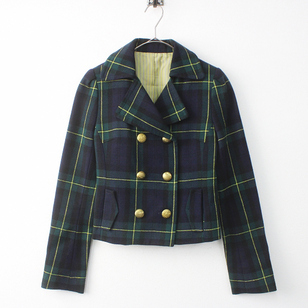 Lois CRAYON ロイスクレヨン チェック ウール ダブルボタン ジャケット M/ グリーン系 アウター 上着 羽織り 毛 トラッド【2400011512024】