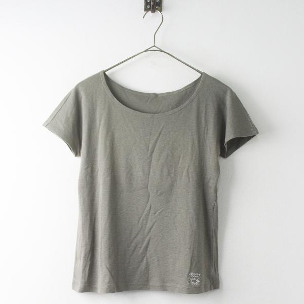 Jurgen Lehl ヨーガンレール コットン ロゴ刺繍 Tシャツ M/カーキグレー トップス カットソー 半袖【2400011512918】