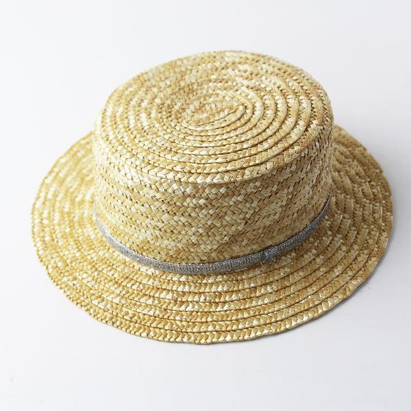 美品 Willy's ウィリーズ カンカン帽 /ナチュラル 小物 帽子 ラメテープ【2400011515223】