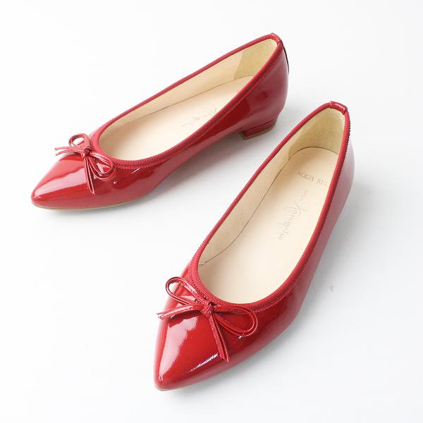 美品 銀座かねまつ ギンザカネマツ エナメル ポインテッドトゥ パンプス 21/レッド 赤 靴 シューズ【2400011516787】