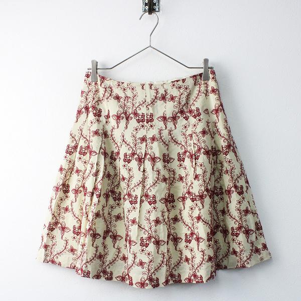 TOCCA トッカ フラワー 刺繍 フレア スカート 4/ベージュ ボトムス【2400011518309】