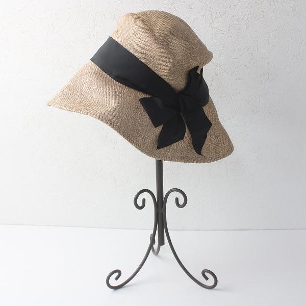 CA4LA カシラ リボン付き ツバ広 ペーパーハット/ナチュラル 帽子【2400011518347】