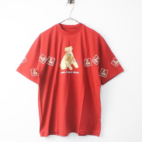 KARL HELMUT カールヘルム ドッグ プリント Tシャツ/トップス レッド 半袖 カットソー メンズ MENS【2400011518583】