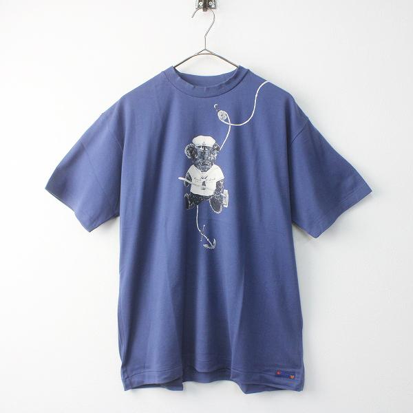 KARL HELMUT カールヘルム テディベア プリント Tシャツ M/トップス ネイビー 半袖 カットソー メンズ MENS【2400011518590】