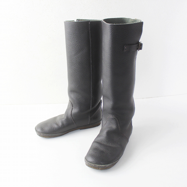 KOOS コース Nina L レザー ロング ブーツ 23.5/ブラック 靴 くつ シンプル フラット【2400011523211】