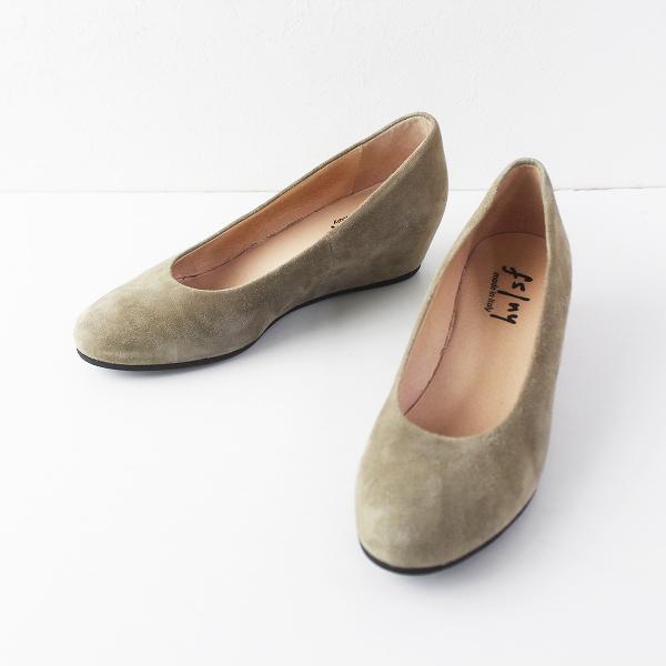 fs/ny エフエススラッシュエヌワイ スウェード ウェッジ パンプス 9 1/2/ベージュ シューズ 靴【2400011524911】