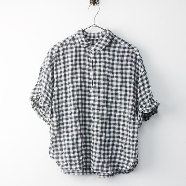 niko and... ニコアンド ギンガムチェック 半袖 シャツ 3/ブラック × ホワイト トップス【2400011525475】