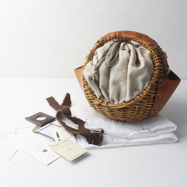 ebagos エバゴス キャンバス × レザー 丸形 かご バッグ/ナチュラル 鞄 かばん 手提げ バスケット【2400011526939】