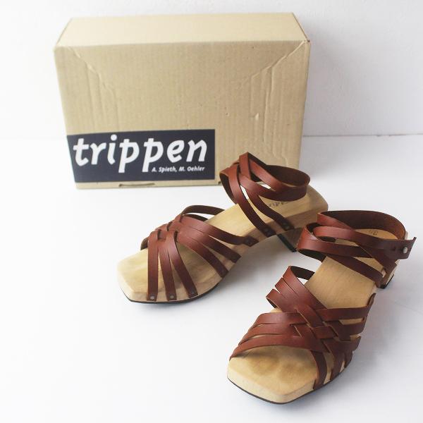 未使用 trippen トリッペン knife レザーストラップ ウッド サンダル 38/ブラウン シューズ 靴【2400011527332】