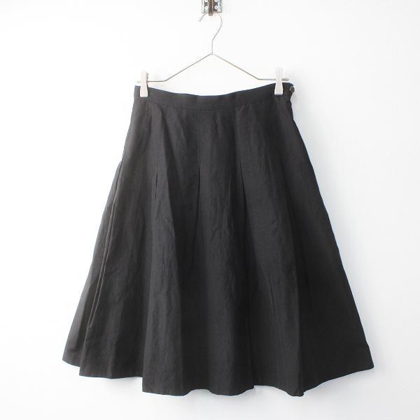 MARGARET HOWELL マーガレットハウエル ウール リネン プリーツ スカート 2/ブラック ボトムス【2400011528193】
